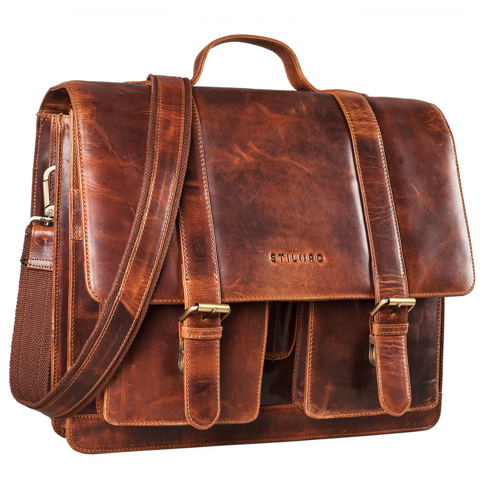 """STILORD """"Marius"""" Klassische Lehrertasche Leder Schultasche XL groß Aktentasche zum Umhängen Businesstasche Laptoptasche echtes Rindsleder  - Bild 8"""