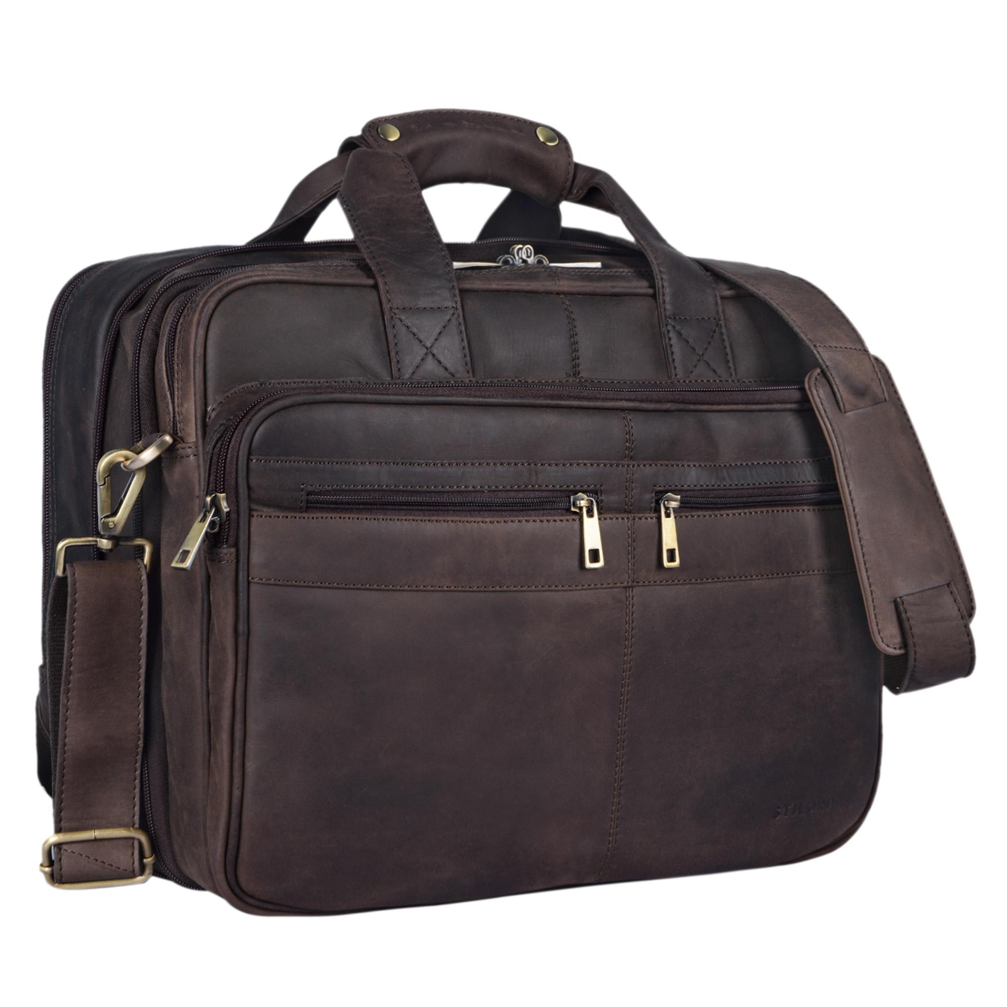 """STILORD """"Alexander"""" Lehrertasche Herren Leder braun Aktentasche Laptoptasche Bürotasche Businesstasche Vintage groß XXL Umhängetasche mit Dreifachtrenner - Bild 11"""