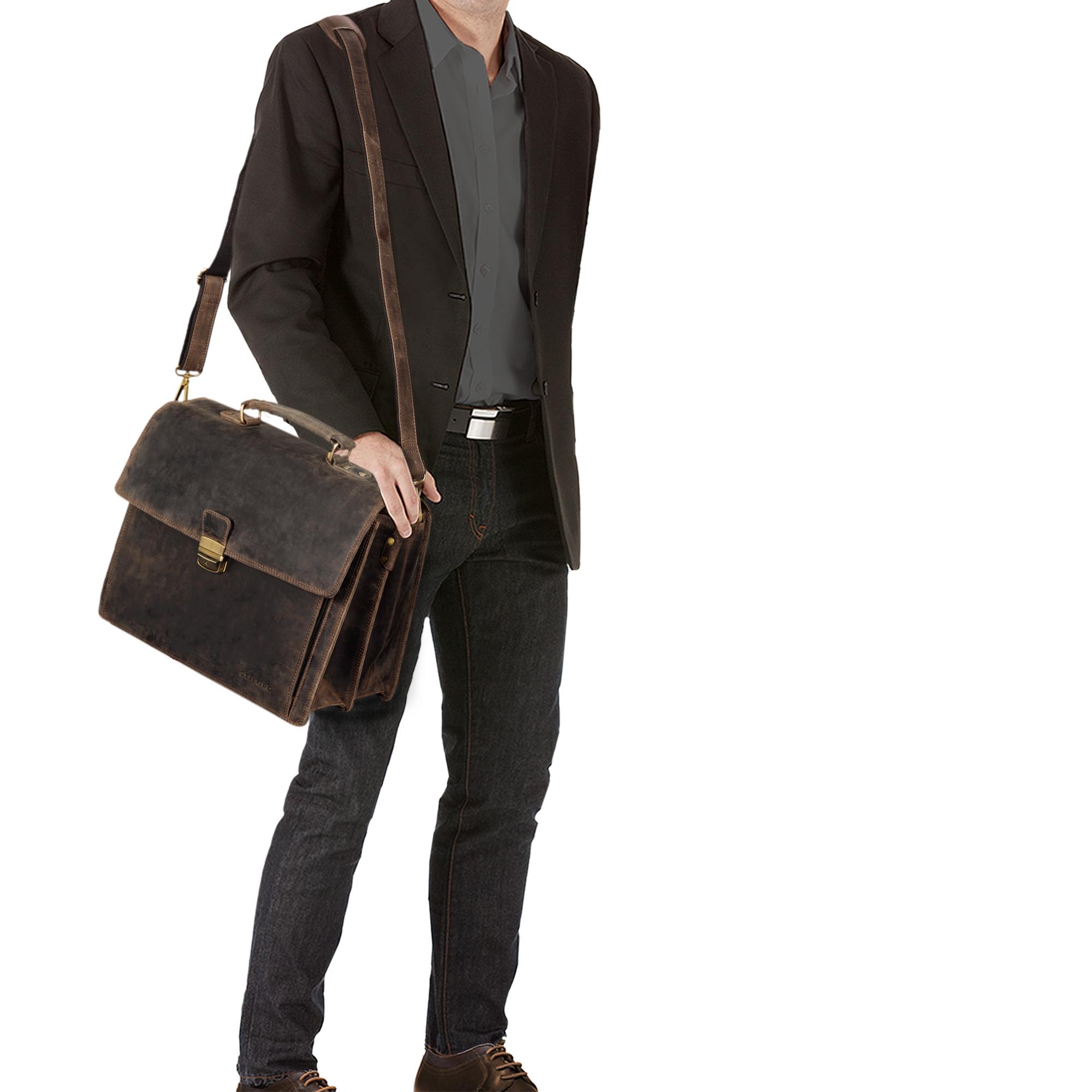 """STILORD """"Noel"""" Aktentasche Leder Herren Vintage groß klassische Arbeitstasche Bürotasche Umhängetasche Dokumententasche mit Laptopfach 13,3 Zoll und Trolleyschlaufe - Bild 12"""