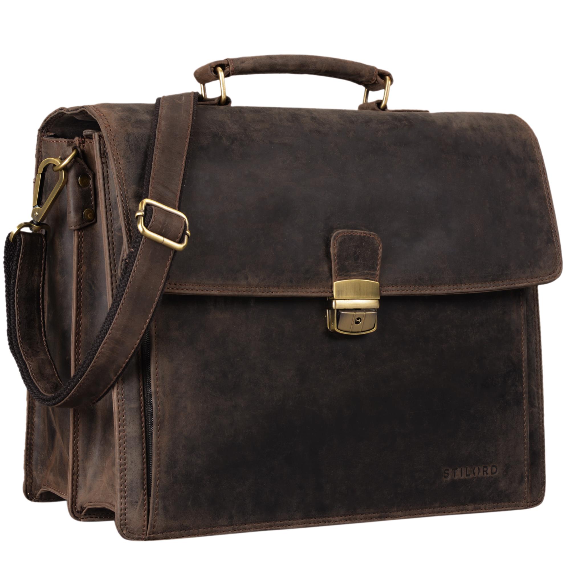 """STILORD """"Noel"""" Aktentasche Leder Herren Vintage groß klassische Arbeitstasche Bürotasche Umhängetasche Dokumententasche mit Laptopfach 13,3 Zoll und Trolleyschlaufe - Bild 11"""