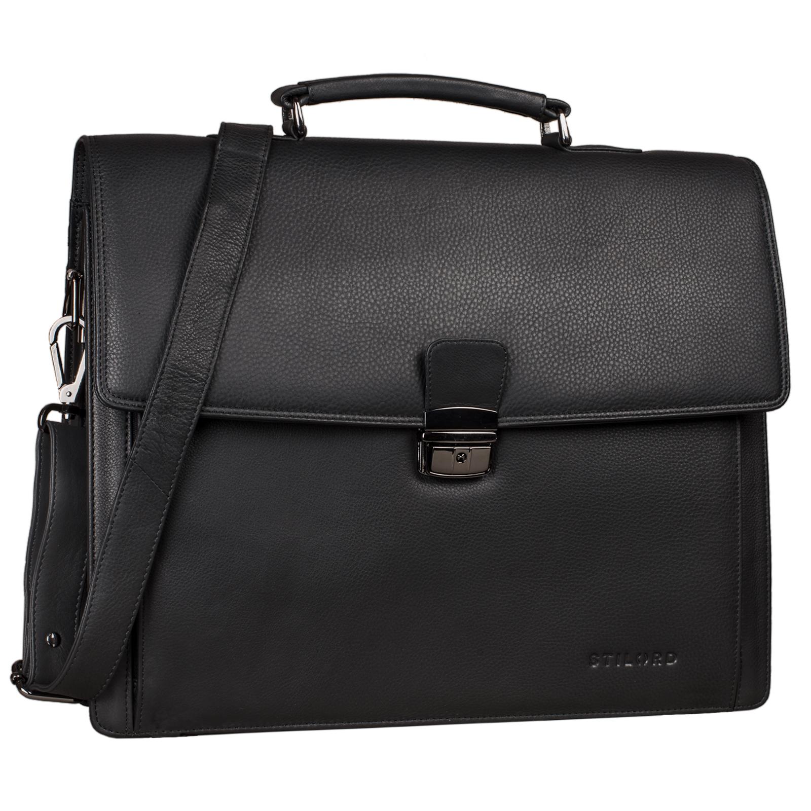 """STILORD """"Noel"""" Aktentasche Leder Herren Vintage groß klassische Arbeitstasche Bürotasche Umhängetasche Dokumententasche mit Laptopfach 13,3 Zoll und Trolleyschlaufe - Bild 9"""