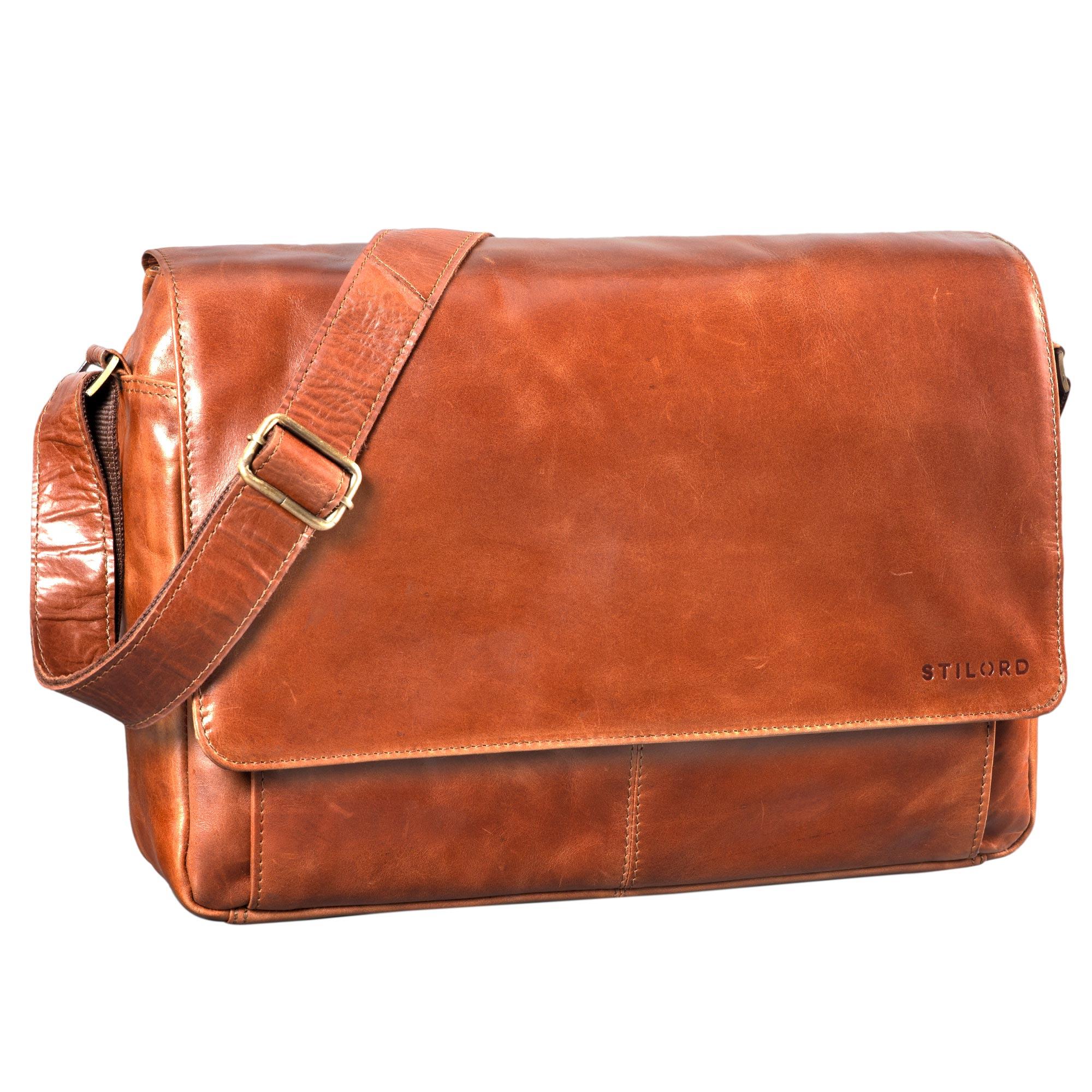 """STILORD """"Lonzo"""" Vintage Umhängetasche echtes Büffel-Leder Messenger Bag für Herren und Damen Unitasche Büro Business Studium Leder - Bild 14"""