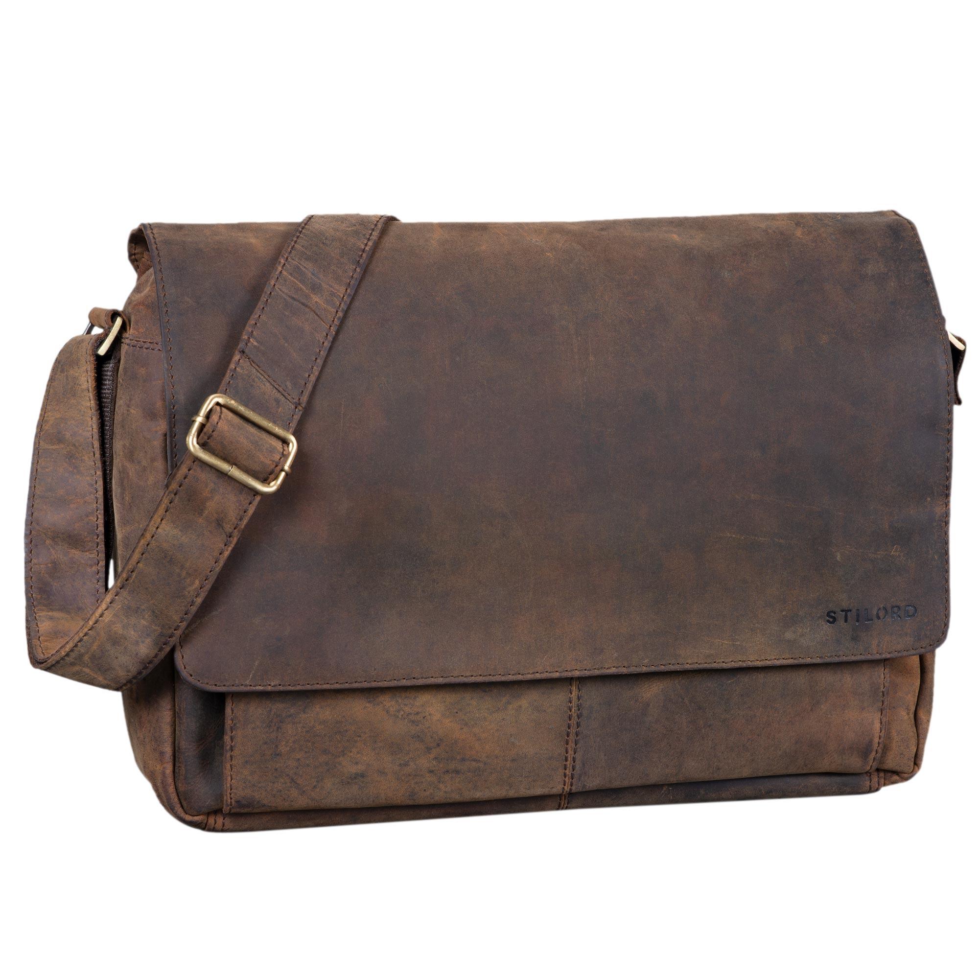 """STILORD """"Lonzo"""" Vintage Umhängetasche echtes Büffel-Leder Messenger Bag für Herren und Damen Unitasche Büro Business Studium Leder - Bild 13"""