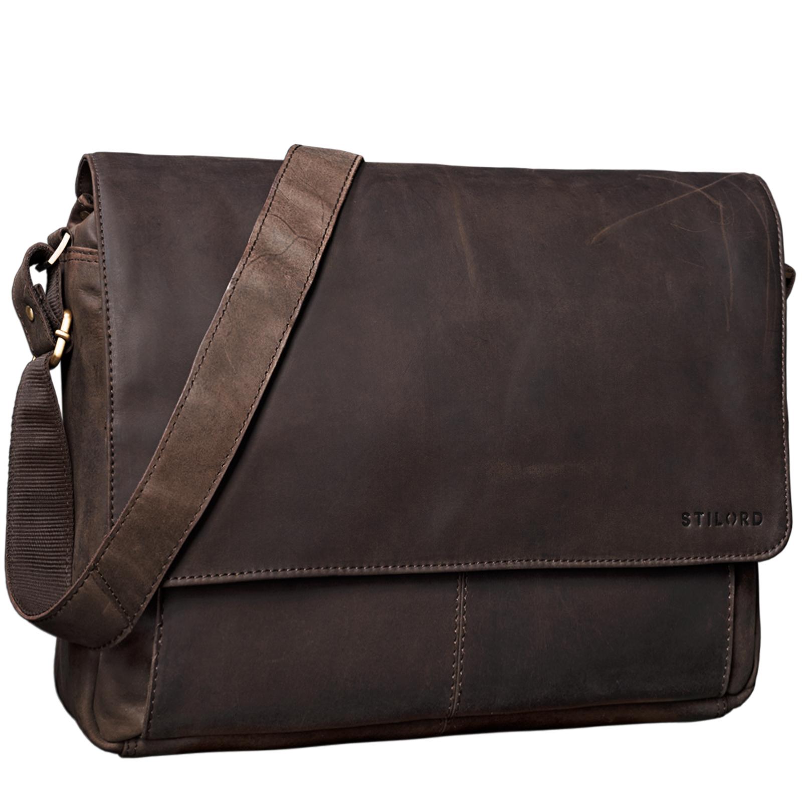 """STILORD """"Lonzo"""" Vintage Umhängetasche echtes Büffel-Leder Messenger Bag für Herren und Damen Unitasche Büro Business Studium Leder - Bild 9"""