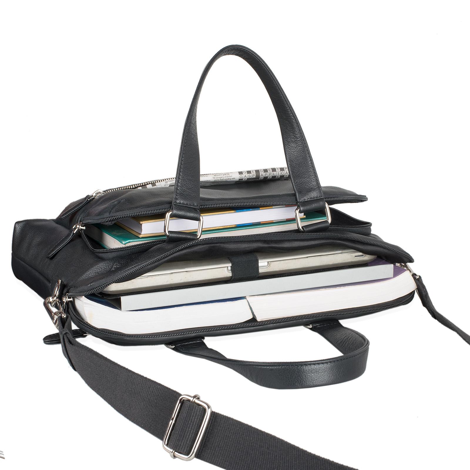 """STILORD """"Lean"""" Umhängetasche Herren Damen Leder groß Handtasche klassische Bürotasche Arbeit Business Unitasche DIN A4 Laptoptasche MacBook 13,3 Zoll echtes Rindsleder - Bild 14"""