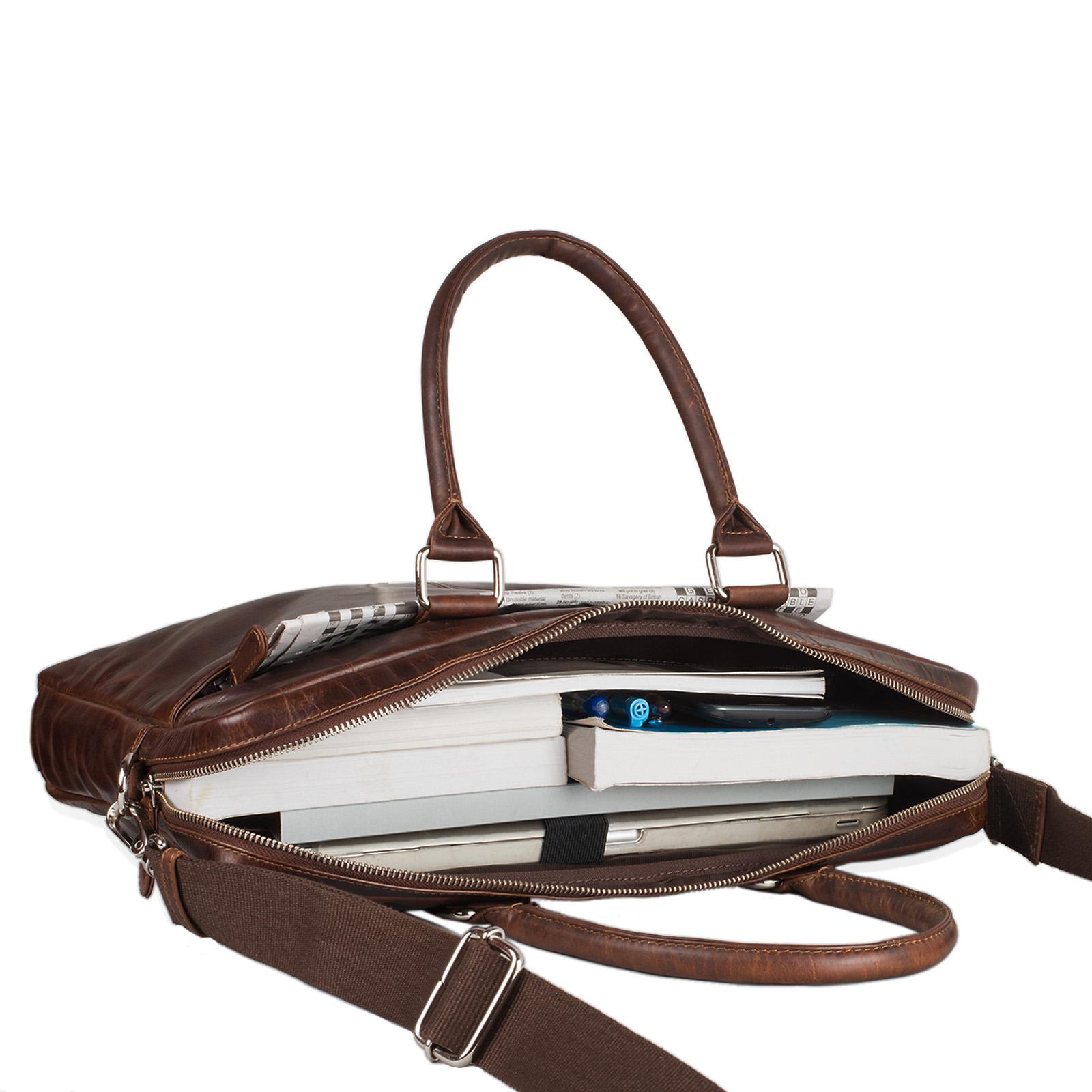 """STILORD """"Emilio"""" Umhängetasche Leder Vintage groß Schultertasche elegante Handtasche für Büro Business Arbeit Laptop 13.3 Zoll Aktentasche DIN A4 - Bild 18"""