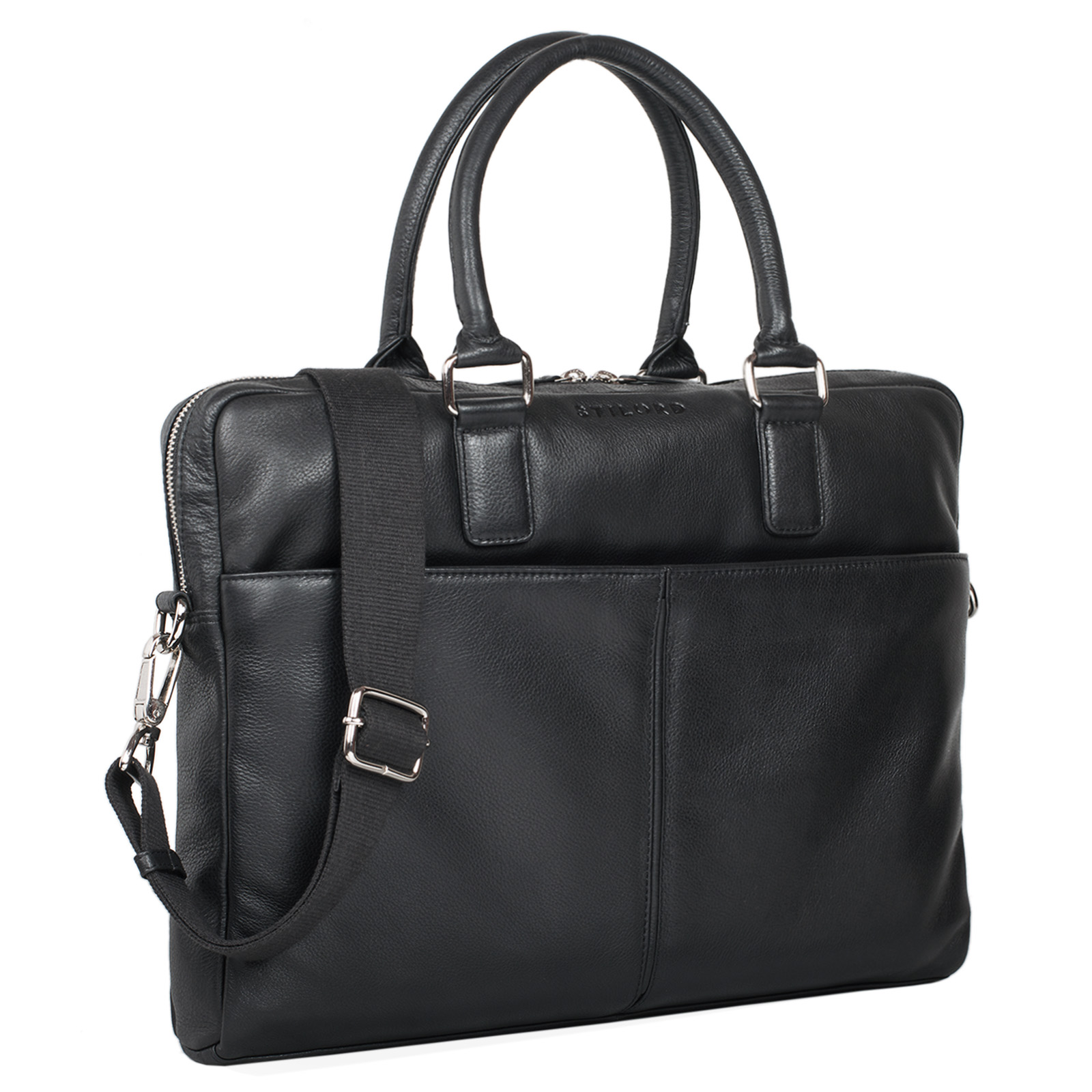 """STILORD """"Emilio"""" Umhängetasche Leder Vintage groß Schultertasche elegante Handtasche für Büro Business Arbeit Laptop 13.3 Zoll Aktentasche DIN A4 - Bild 9"""