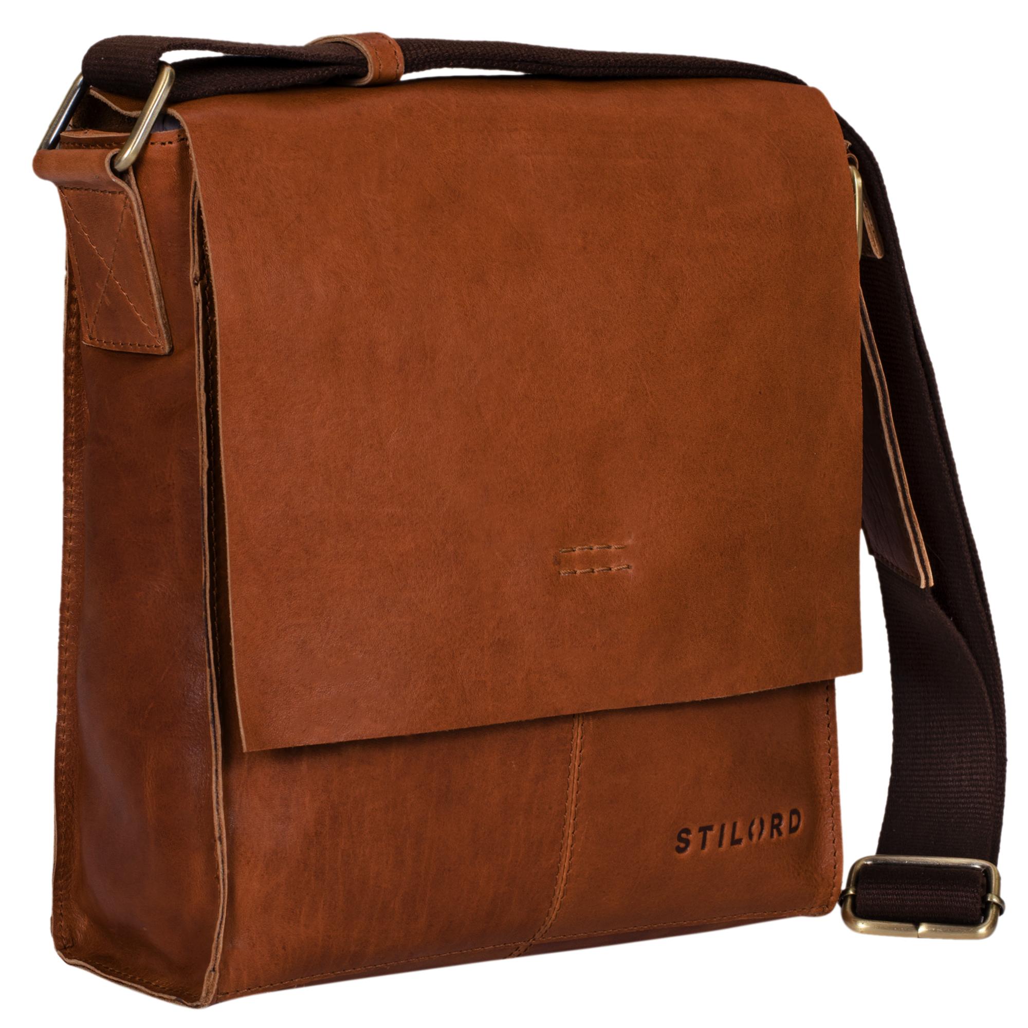 """STILORD """"Malte"""" Kleine Messenger Bag Leder Herren Vintage Schultertasche Umhängetasche für 9.7 Zoll Tablet iPad Handtasche A5 echtes Rindsleder - Bild 9"""
