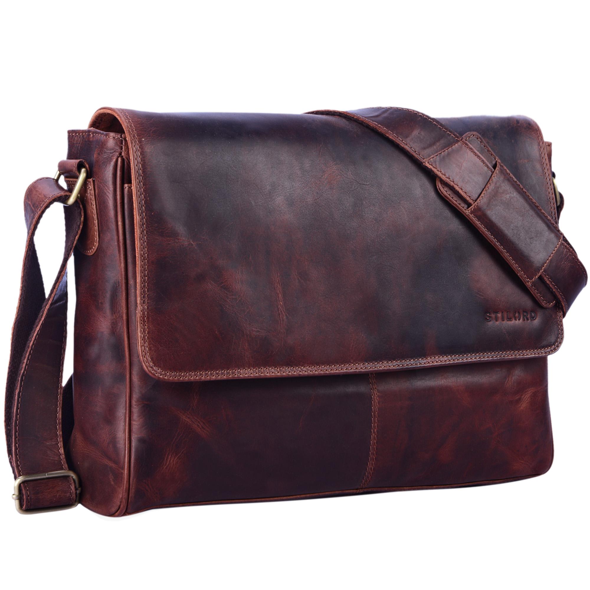 "STILORD ""Oskar"" Umhängetasche aus echtem Rinds-Leder Unisex Messenger Bag Business Unitasche Bürotasche Leder  - Bild 23"