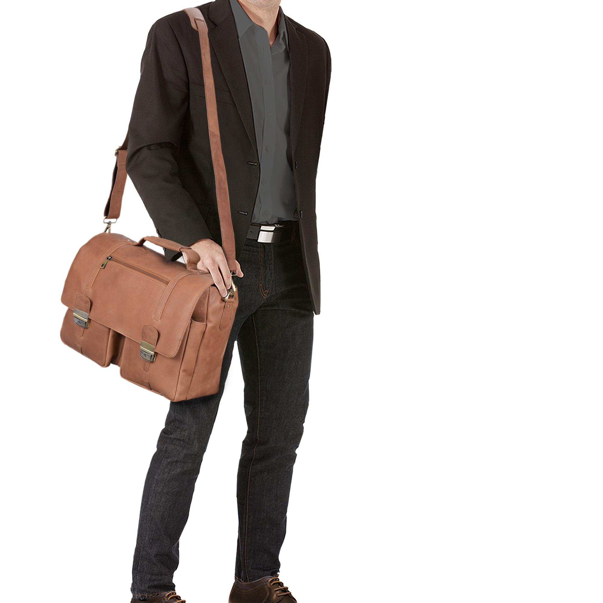 """STILORD """"Robin"""" Vintage Businesstasche Leder Aktentasche für Damen und Herren Schloss 15,6 Zoll Laptopfach elegante Umhängetasche aus echtem Leder  - Bild 11"""