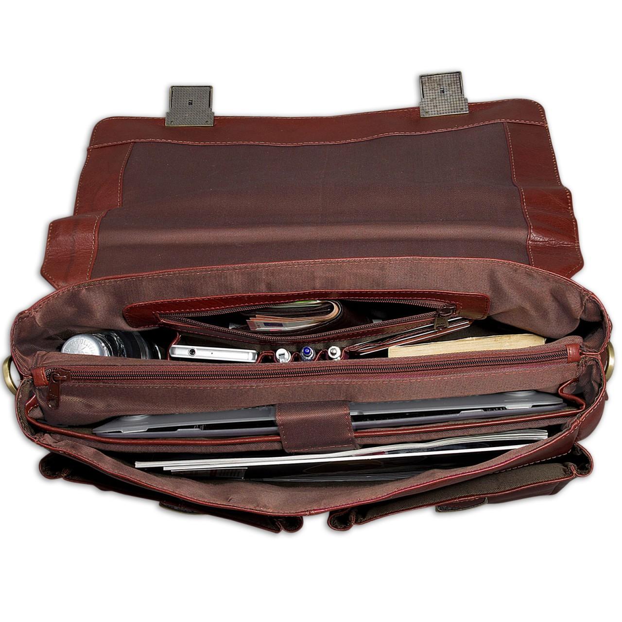 """STILORD """"Robin"""" Vintage Businesstasche Leder Aktentasche für Damen und Herren Schloss 15,6 Zoll Laptopfach elegante Umhängetasche aus echtem Leder  - Bild 4"""
