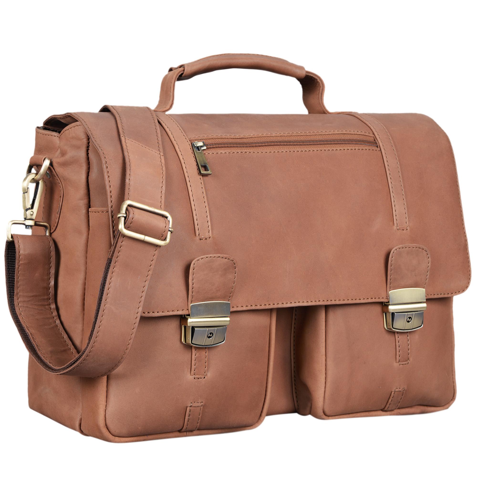 """STILORD """"Robin"""" Vintage Businesstasche Leder Aktentasche für Damen und Herren Schloss 15,6 Zoll Laptopfach elegante Umhängetasche aus echtem Leder  - Bild 10"""