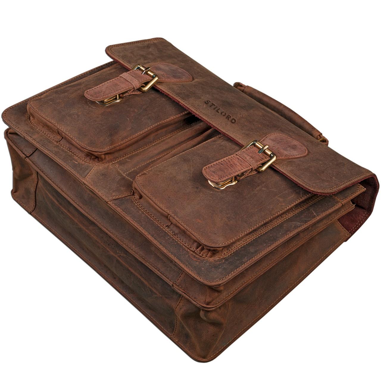"""STILORD """"Karl"""" Aktentasche Herren Lehrertasche Bürotasche Laptoptasche Umhängetasche XL Businesstasche Vintage groß aus echtem Leder  - Bild 4"""