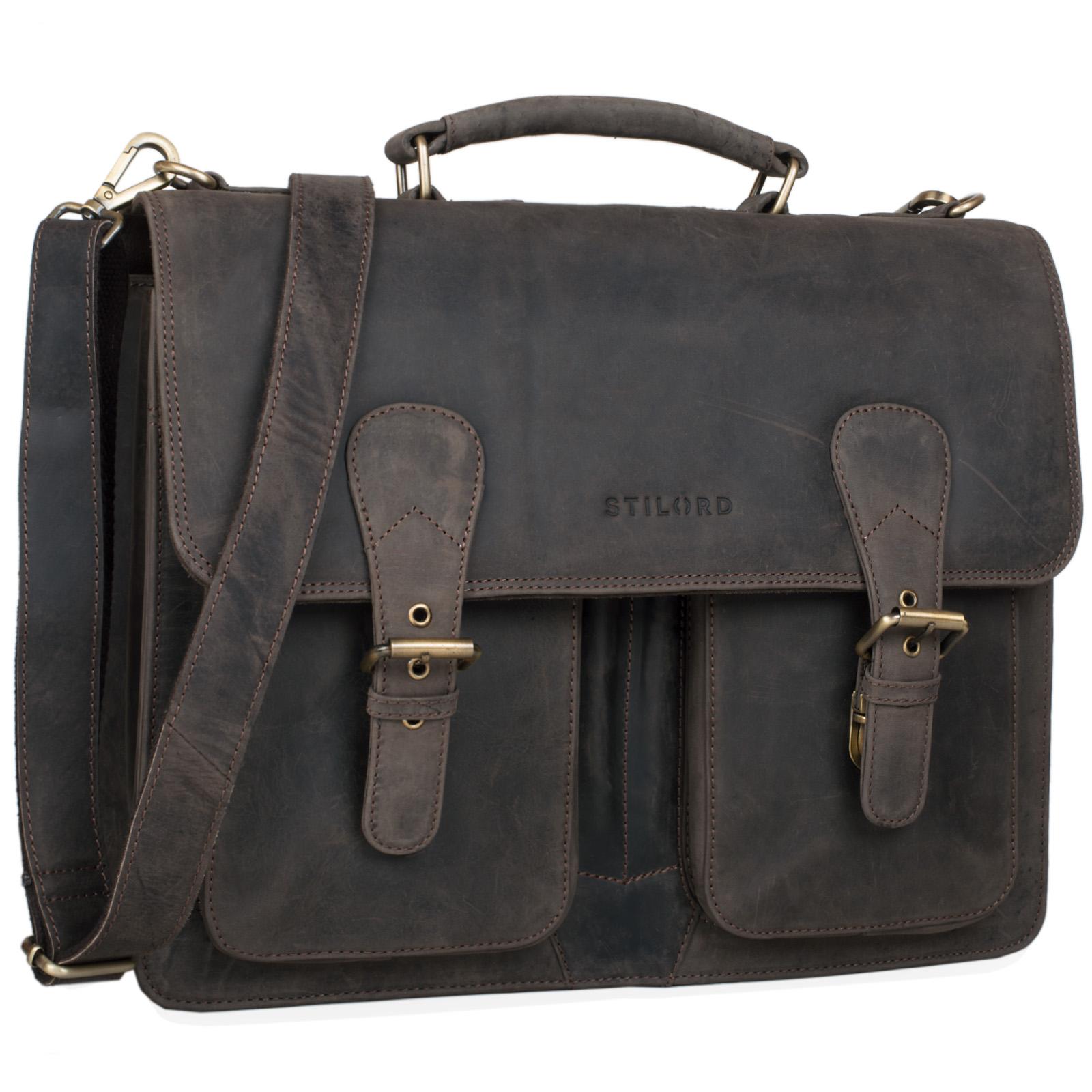 """STILORD """"Karl"""" Aktentasche Herren Lehrertasche Bürotasche Laptoptasche Umhängetasche XL Businesstasche Vintage groß aus echtem Leder  - Bild 7"""