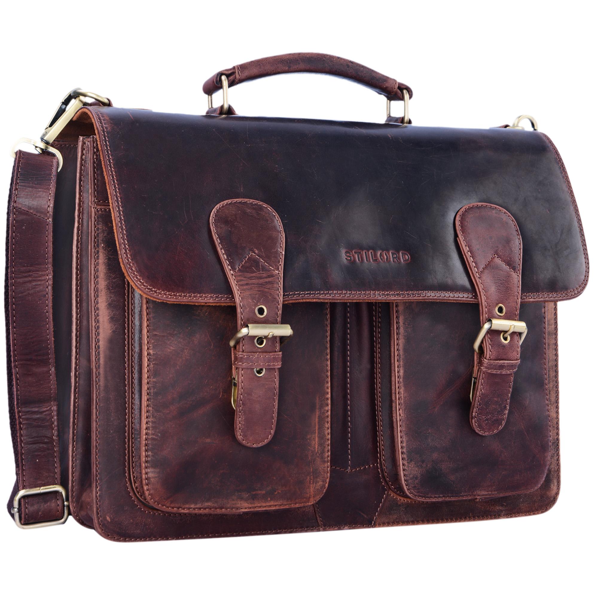 """STILORD """"Karl"""" Aktentasche Herren Lehrertasche Bürotasche Laptoptasche Umhängetasche XL Businesstasche Vintage groß aus echtem Leder  - Bild 8"""