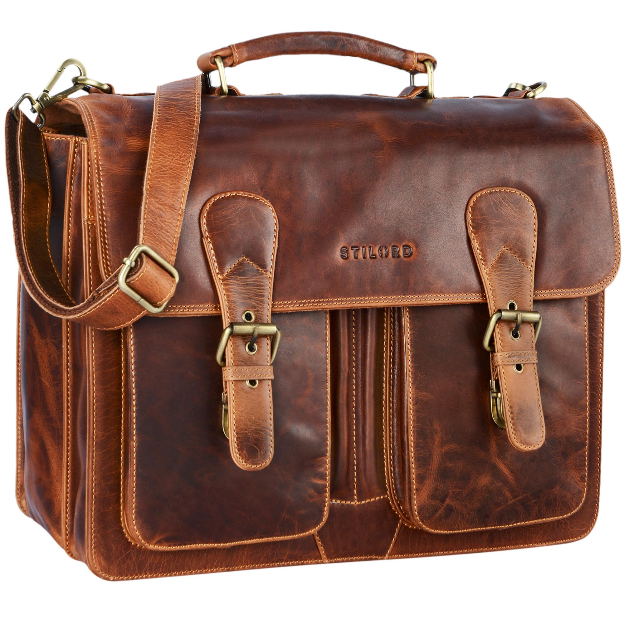 """STILORD """"Karl"""" Aktentasche Herren Lehrertasche Bürotasche Laptoptasche Umhängetasche XL Businesstasche Vintage groß aus echtem Leder  - Bild 10"""
