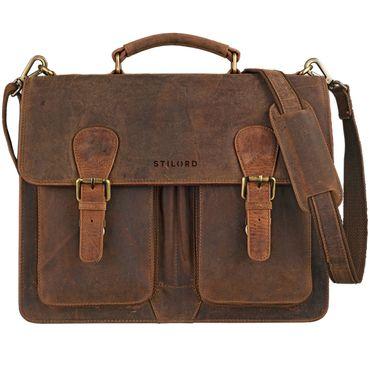 """STILORD """"Karl"""" Aktentasche Herren Lehrertasche Bürotasche Laptoptasche Umhängetasche XL Businesstasche Vintage groß aus echtem Leder  – Bild 2"""