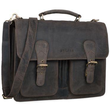 """STILORD """"Karl"""" Aktentasche Herren Lehrertasche Bürotasche Laptoptasche Umhängetasche XL Businesstasche Vintage groß aus echtem Leder  Farbe: dunkel - braun"""