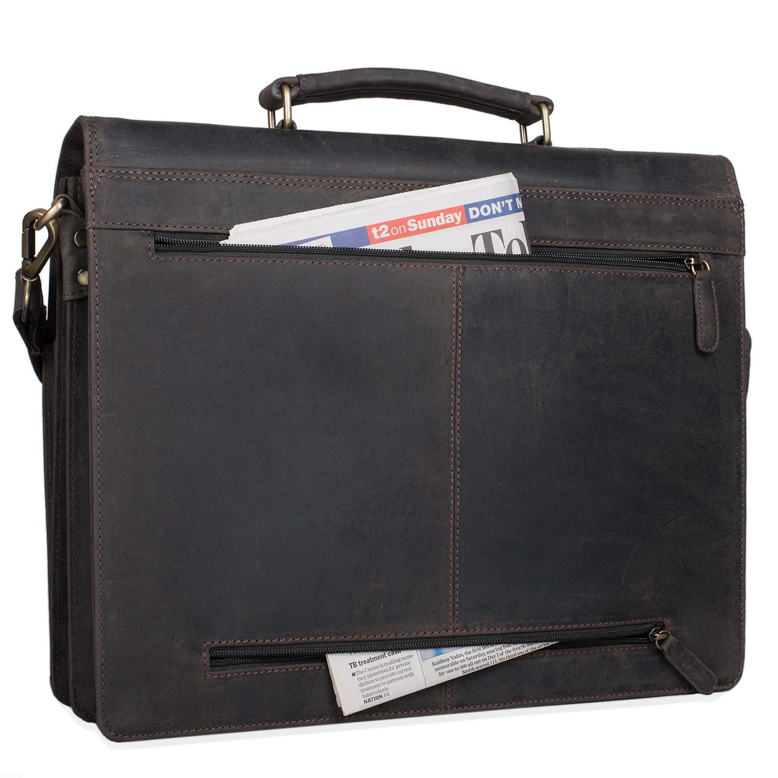 """STILORD """"Julian"""" Aktentasche Leder Elegant Klassische Businesstasche mit Schloss groß aufsteckbar Bürotasche echtes Leder vom Rind - Bild 22"""