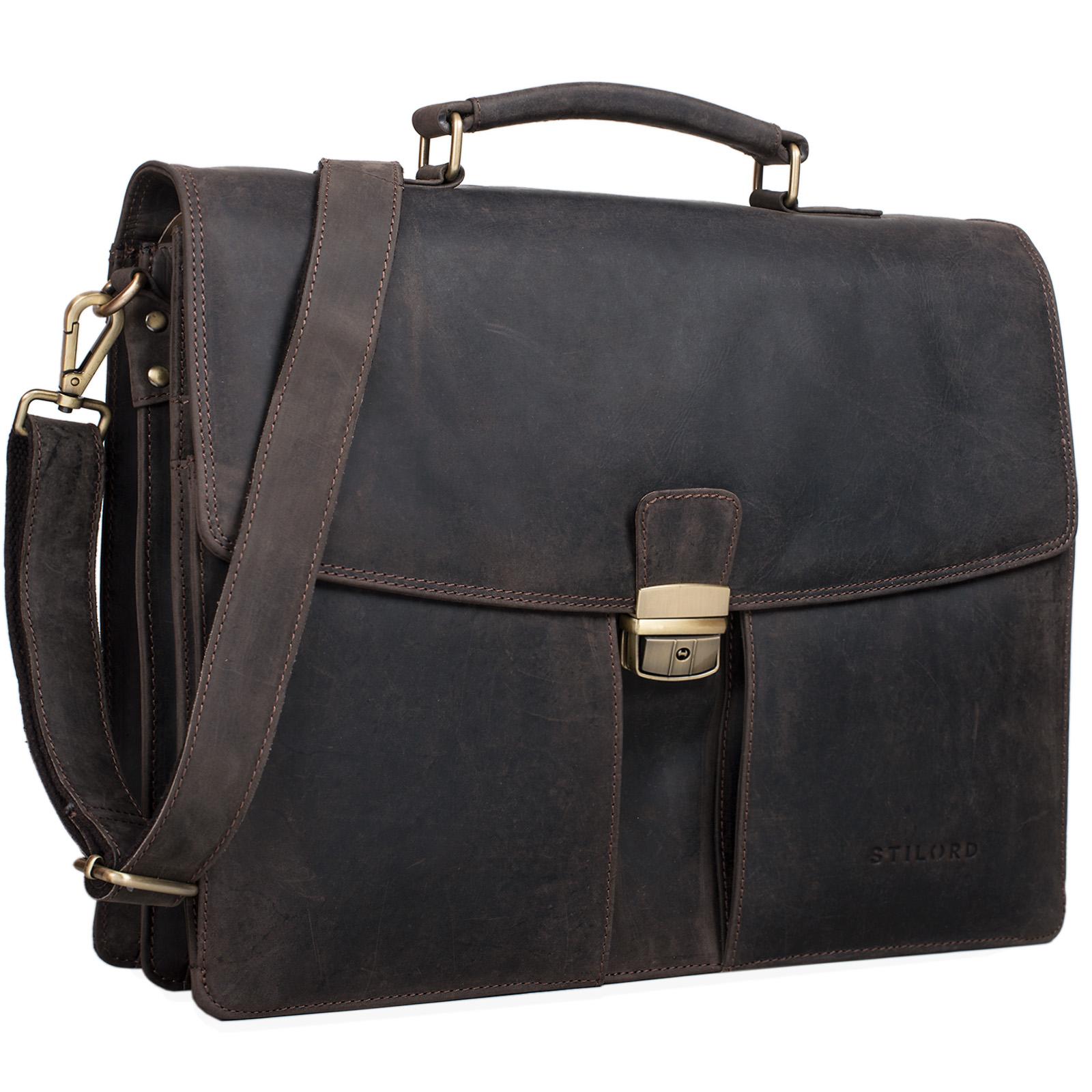"""STILORD """"Julian"""" Aktentasche Leder Elegant Klassische Businesstasche mit Schloss groß aufsteckbar Bürotasche echtes Leder vom Rind - Bild 16"""