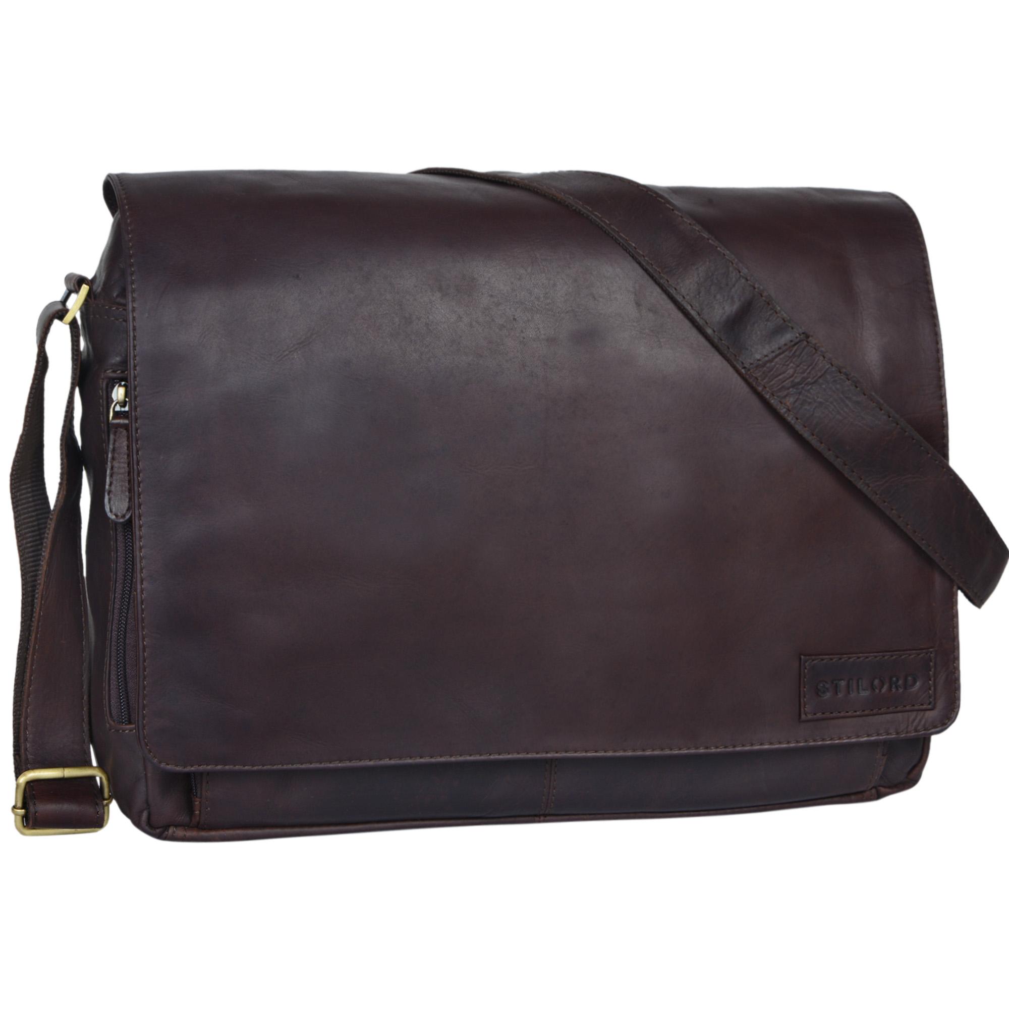 """STILORD """"Rick"""" Schultertasche Leder für 15,6 Zoll Laptop Umhängetasche Aktentasche Bürotasche Unitasche Büffel-Leder  - Bild 9"""