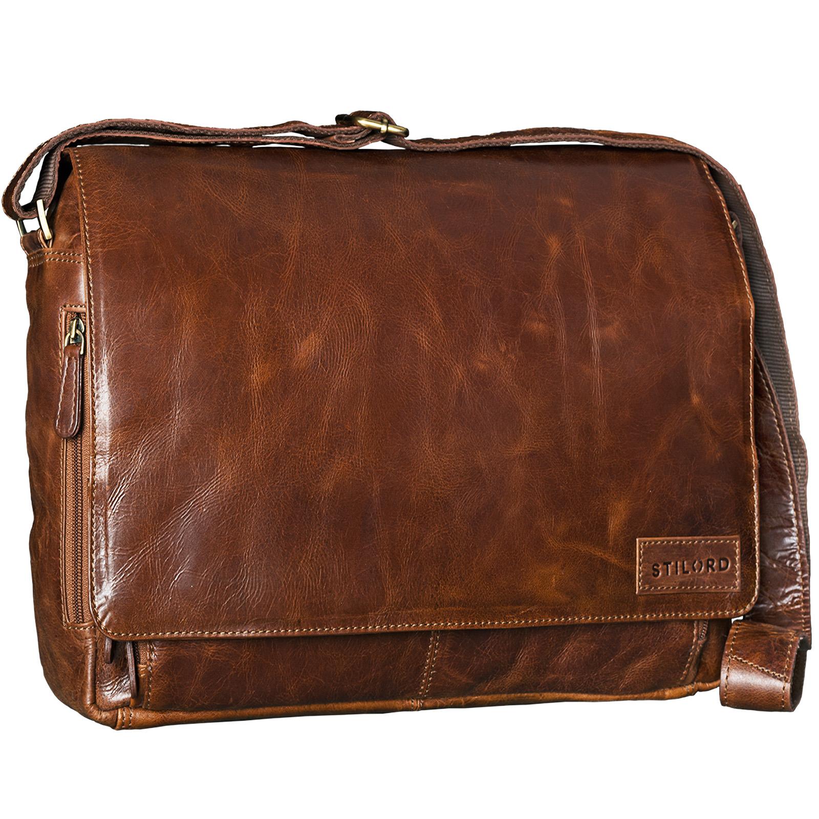 """STILORD """"Rick"""" Schultertasche Leder für 15,6 Zoll Laptop Umhängetasche Aktentasche Bürotasche Unitasche Büffel-Leder  - Bild 3"""