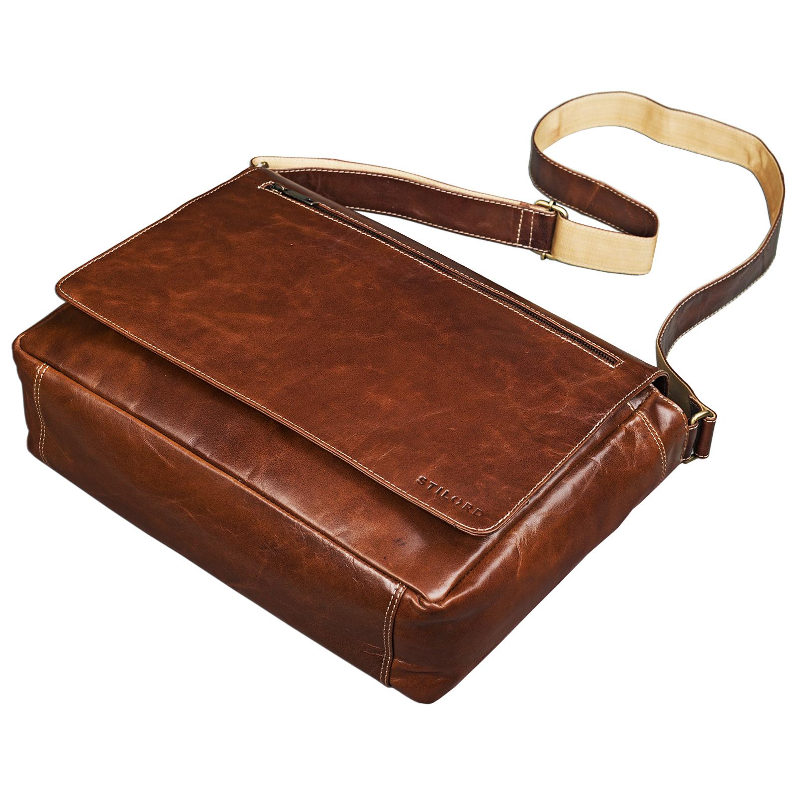 """STILORD """"Phil"""" Vintage Leder Umhängetasche für Herren und Damen Laptoptasche Unitasche Aktentasche Bürotasche Tasche echtes Leder - Bild 18"""