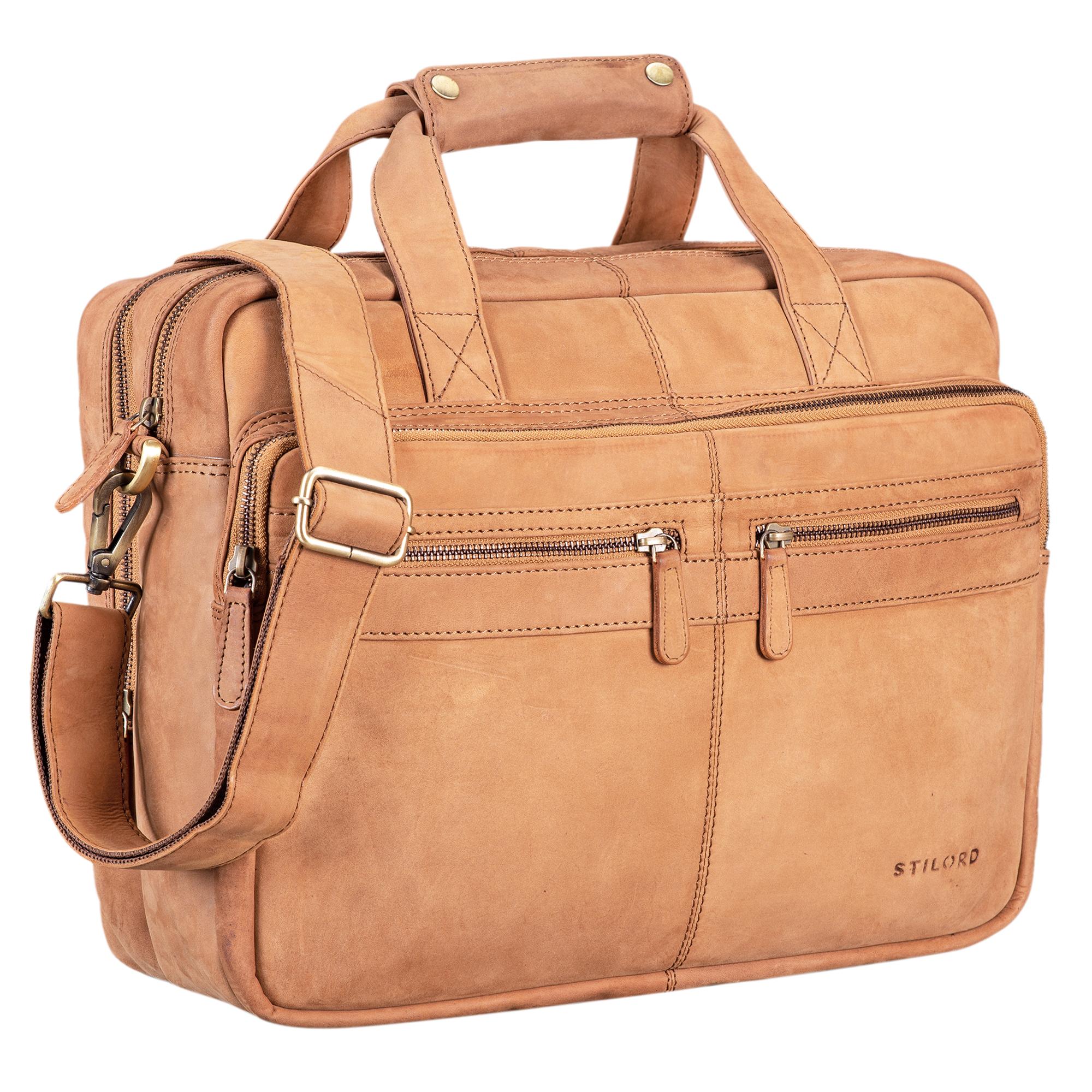 """STILORD """"Explorer"""" Lehrertasche Leder Herren Damen Aktentasche Büro Schulter- oder Umhängetasche für Laptop mit Dreifachtrenner Echt Leder Vintage - Bild 23"""