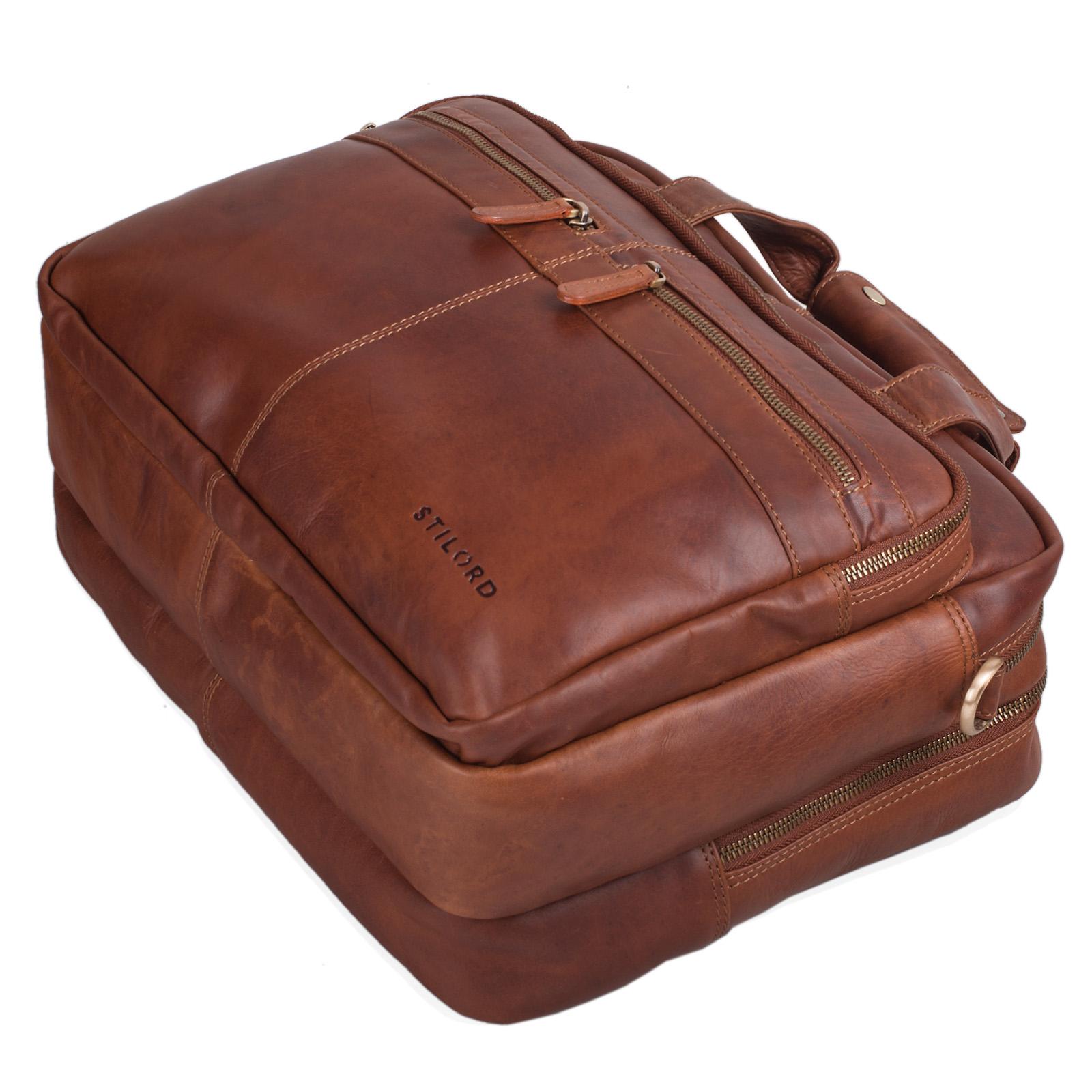 """STILORD """"Explorer"""" Lehrertasche Leder Herren Damen Aktentasche Büro Schulter- oder Umhängetasche für Laptop mit Dreifachtrenner Echt Leder Vintage - Bild 19"""