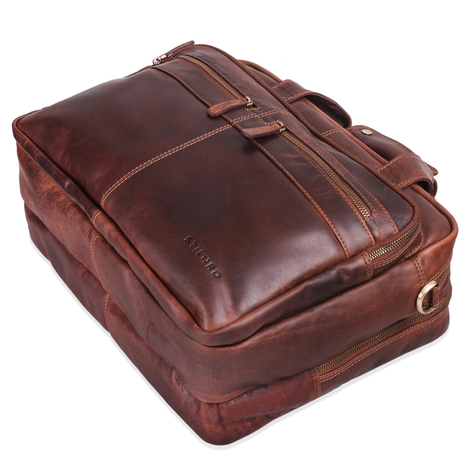 """STILORD """"Explorer"""" Lehrertasche Leder Herren Damen Aktentasche Büro Schulter- oder Umhängetasche für Laptop mit Dreifachtrenner Echt Leder Vintage - Bild 13"""