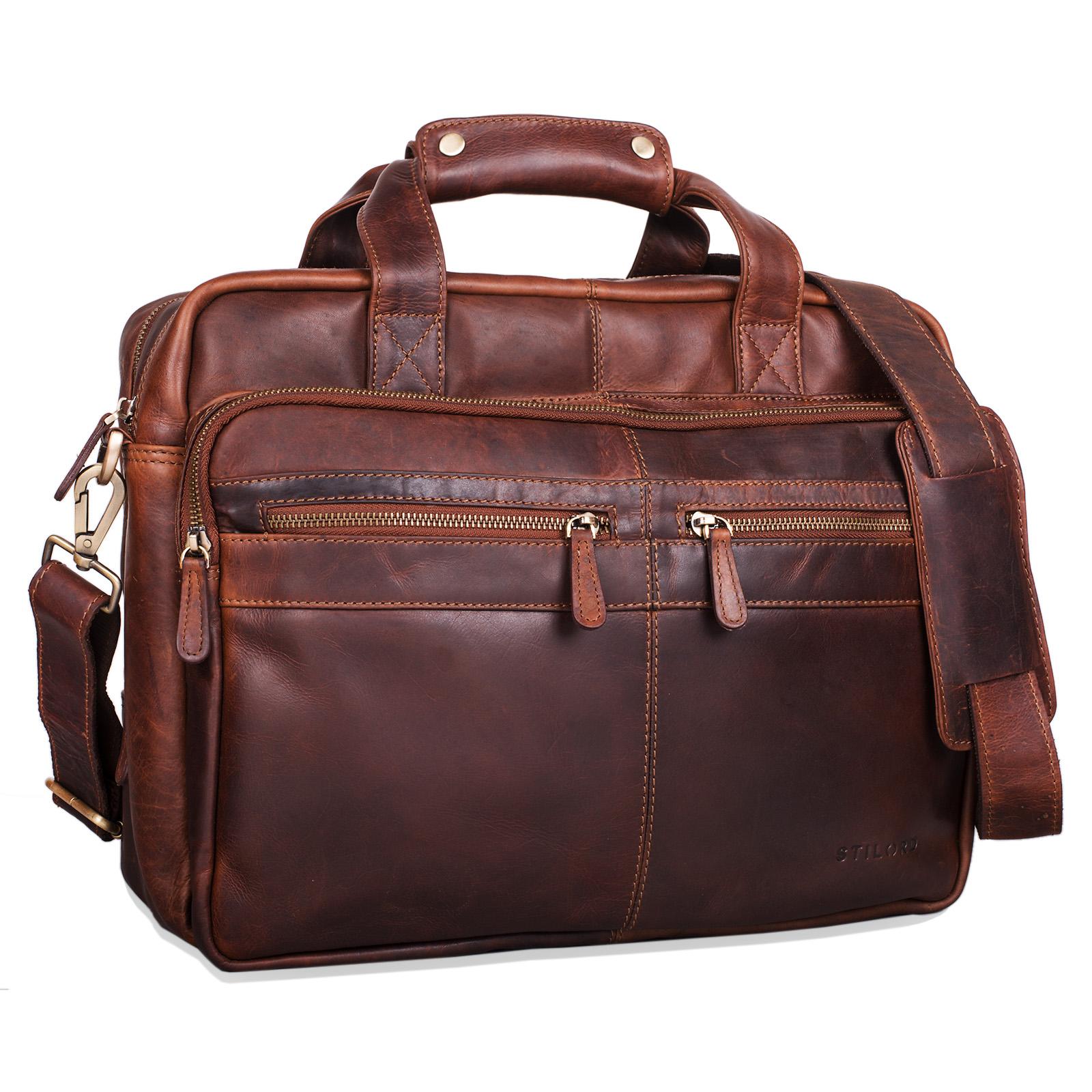 """STILORD """"Explorer"""" Lehrertasche Leder Herren Damen Aktentasche Büro Schulter- oder Umhängetasche für Laptop mit Dreifachtrenner Echt Leder Vintage - Bild 8"""