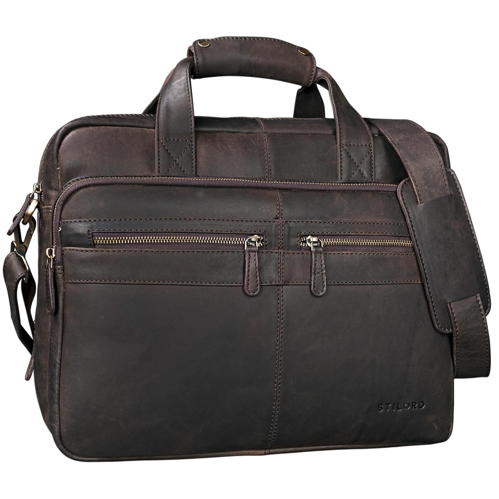 """STILORD """"Explorer"""" Lehrertasche Leder Herren Damen Aktentasche Büro Schulter- oder Umhängetasche für Laptop mit Dreifachtrenner Echt Leder Vintage - Bild 21"""