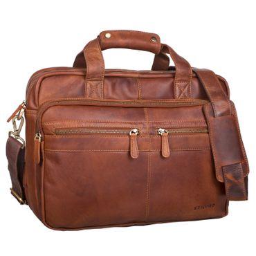 """STILORD """"Explorer"""" Lehrertasche Leder Herren Damen Aktentasche Büro Schulter- oder Umhängetasche für Laptop mit Dreifachtrenner Echt Leder Vintage – Bild 15"""