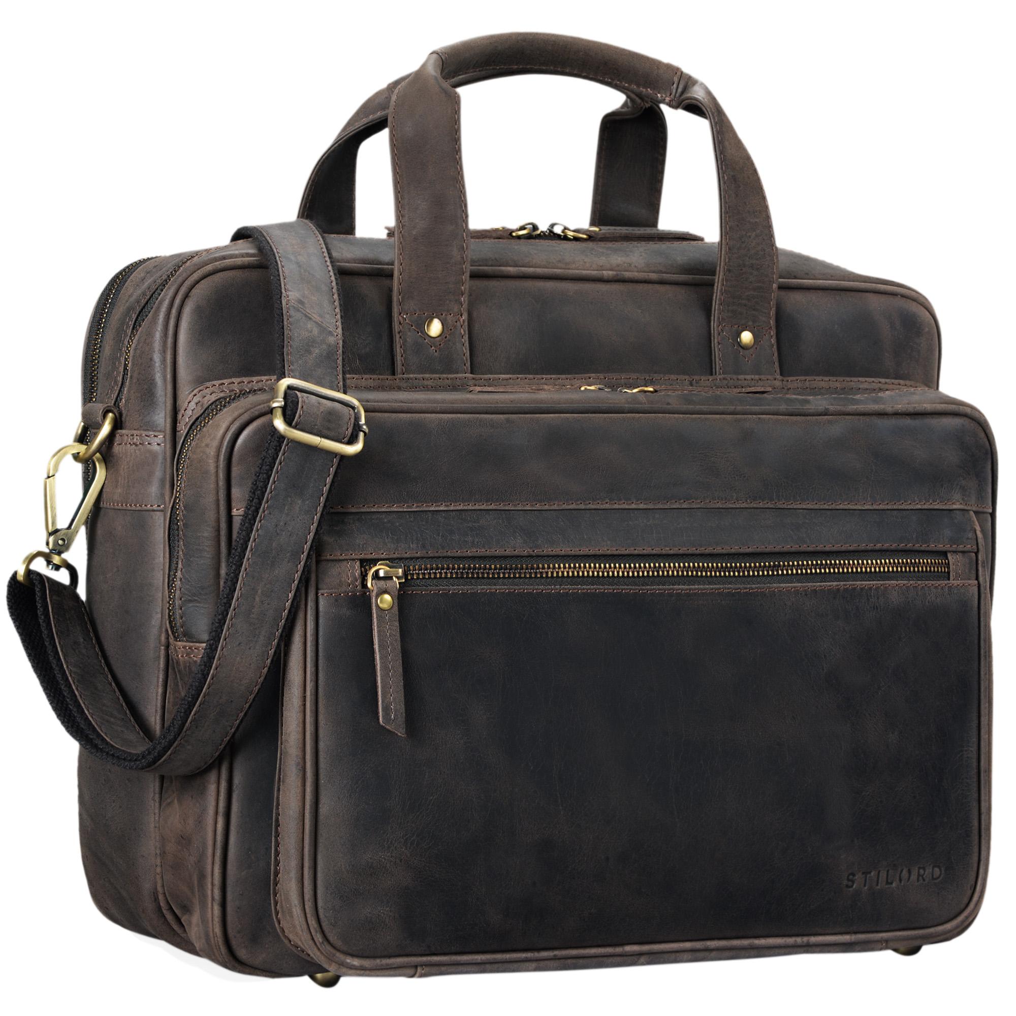 """STILORD """"Walt"""" Vintage Aktentasche Leder Herren Damen Lehrertasche XL groß Büro Business Umhängetasche für 15,6 Zoll Laptop Echt Leder  - Bild 20"""