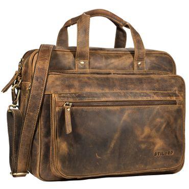 """STILORD """"Walt"""" Vintage Aktentasche Leder Herren Damen Lehrertasche XL groß Büro Business Umhängetasche für 15,6 Zoll Laptop Echt Leder  Farbe: mittel - braun"""