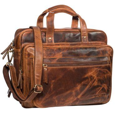 """STILORD """"Walt"""" Vintage Aktentasche Leder Herren Damen Lehrertasche XL groß Büro Business Umhängetasche für 15,6 Zoll Laptop Echt Leder  – Bild 8"""