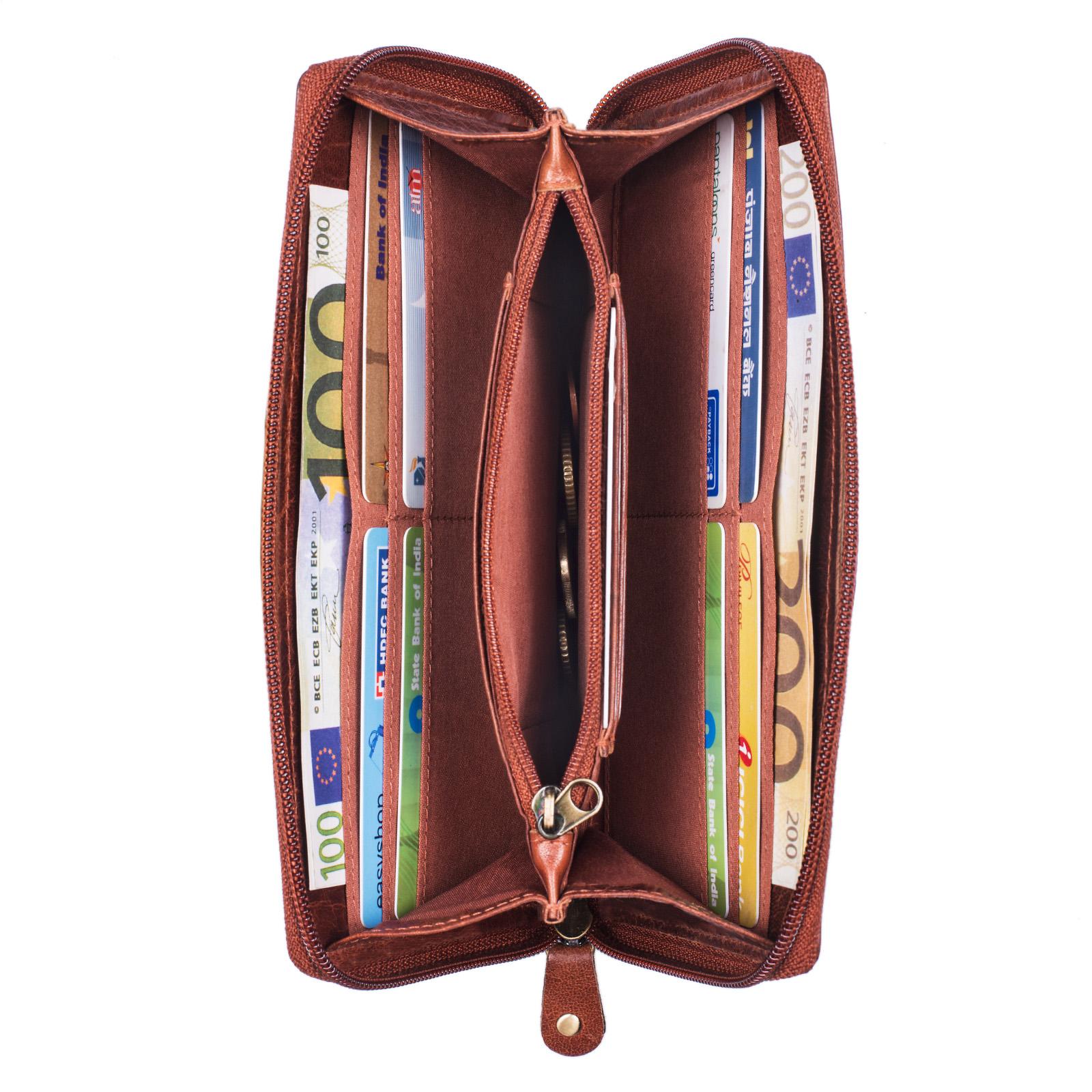 """STILORD """"Saskia"""" Portemonnaie Damen Leder groß viele Fächer Vintage Brieftasche im Querformat Geldbörse mit Reißverschluss für EC-Karten Kleingeld Ausweis - Bild 4"""