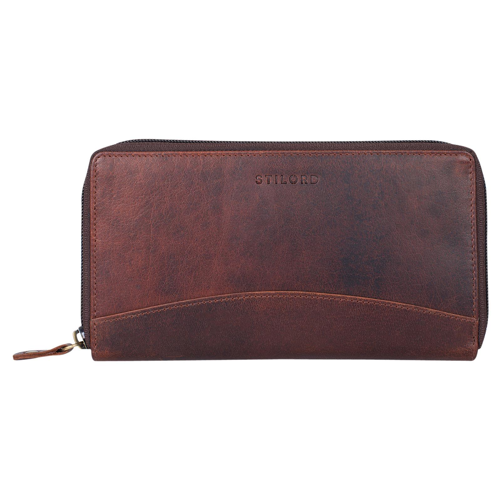 """STILORD """"Saskia"""" Portemonnaie Damen Leder groß viele Fächer Vintage Brieftasche im Querformat Geldbörse mit Reißverschluss für EC-Karten Kleingeld Ausweis - Bild 14"""