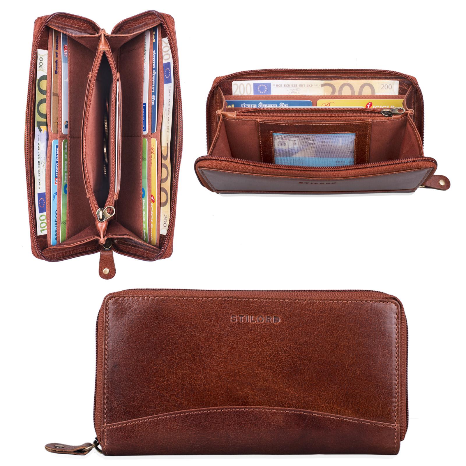 """STILORD """"Saskia"""" Portemonnaie Damen Leder groß viele Fächer Vintage Brieftasche im Querformat Geldbörse mit Reißverschluss für EC-Karten Kleingeld Ausweis - Bild 2"""