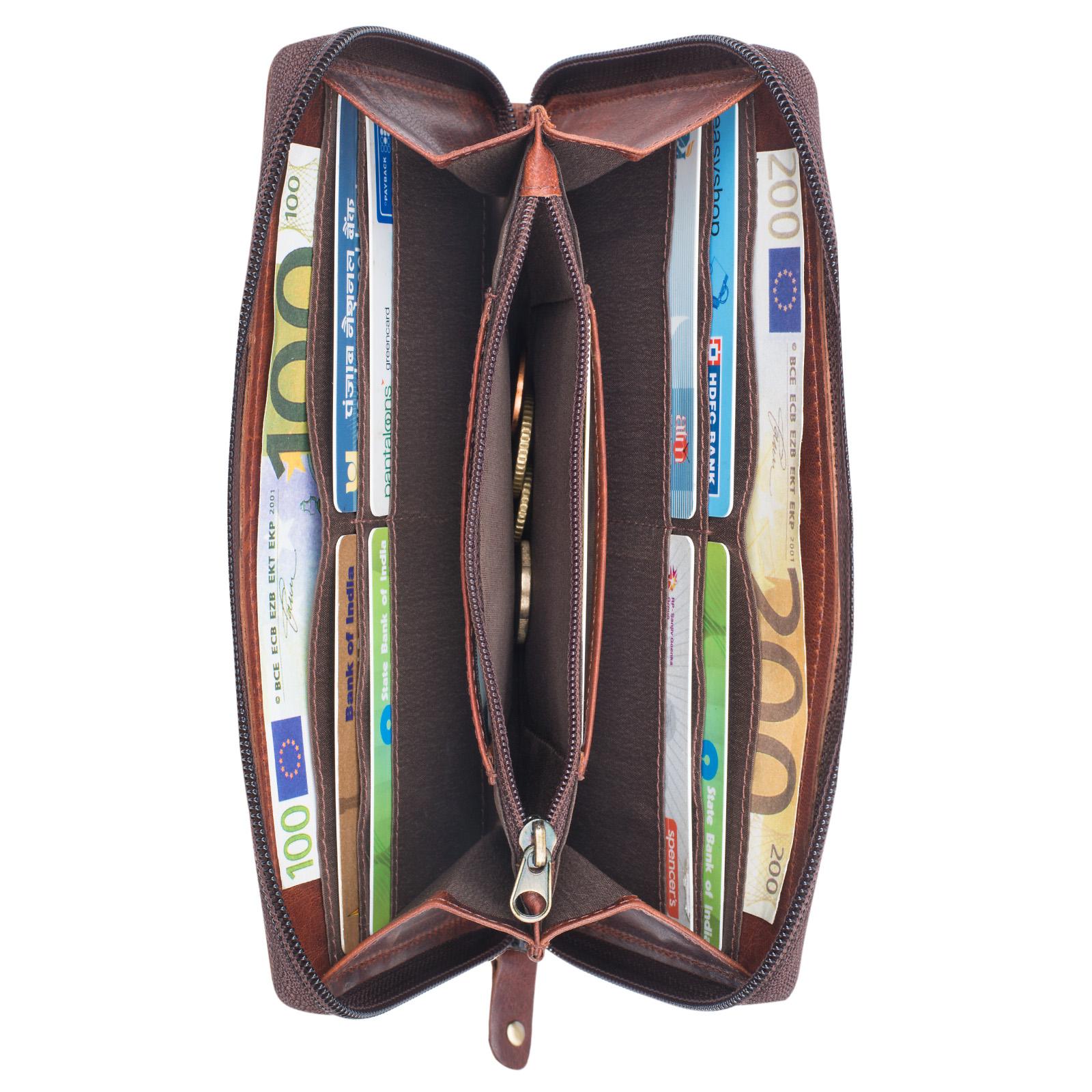 """STILORD """"Saskia"""" Portemonnaie Damen Leder groß viele Fächer Vintage Brieftasche im Querformat Geldbörse mit Reißverschluss für EC-Karten Kleingeld Ausweis - Bild 17"""