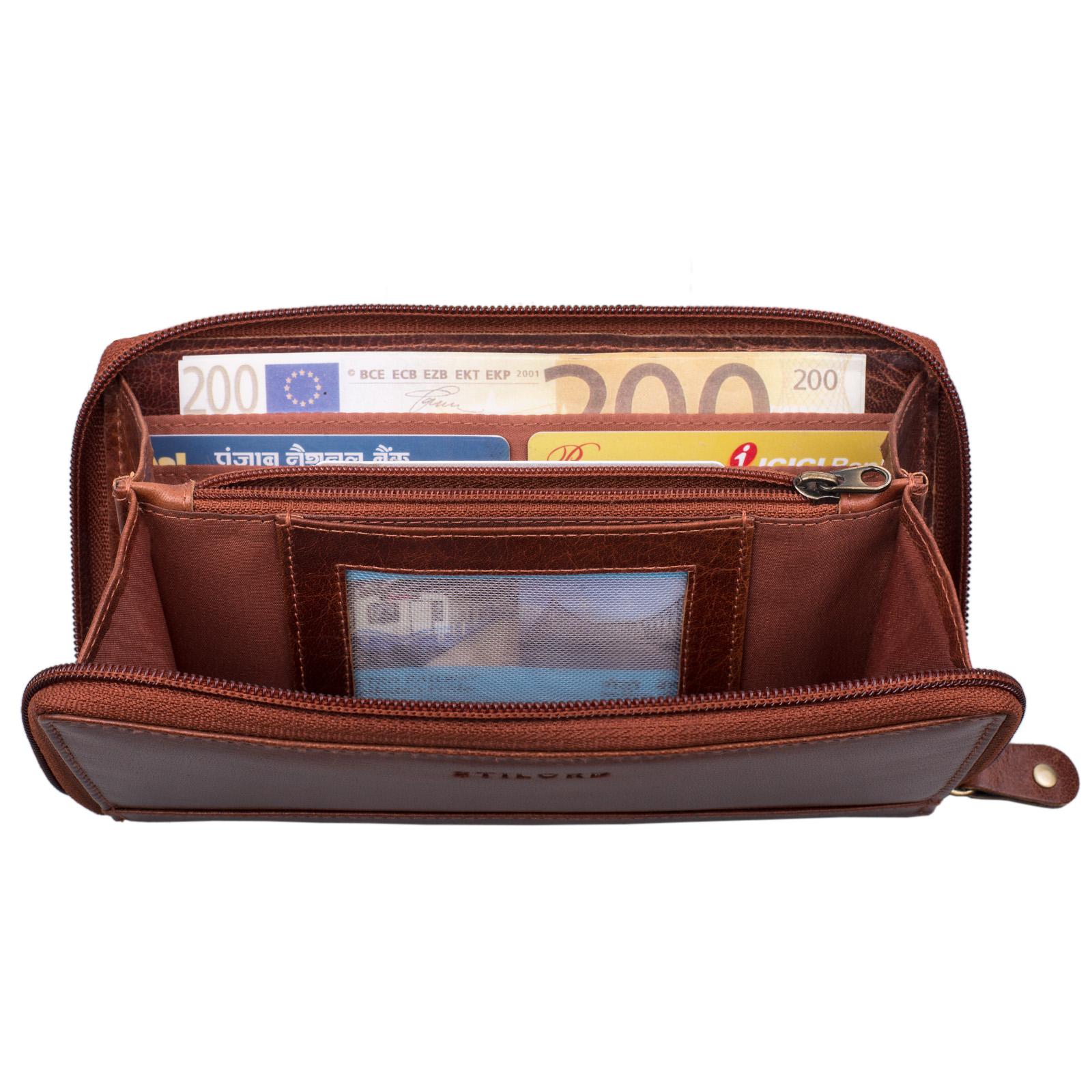 """STILORD """"Saskia"""" Portemonnaie Damen Leder groß viele Fächer Vintage Brieftasche im Querformat Geldbörse mit Reißverschluss für EC-Karten Kleingeld Ausweis - Bild 3"""