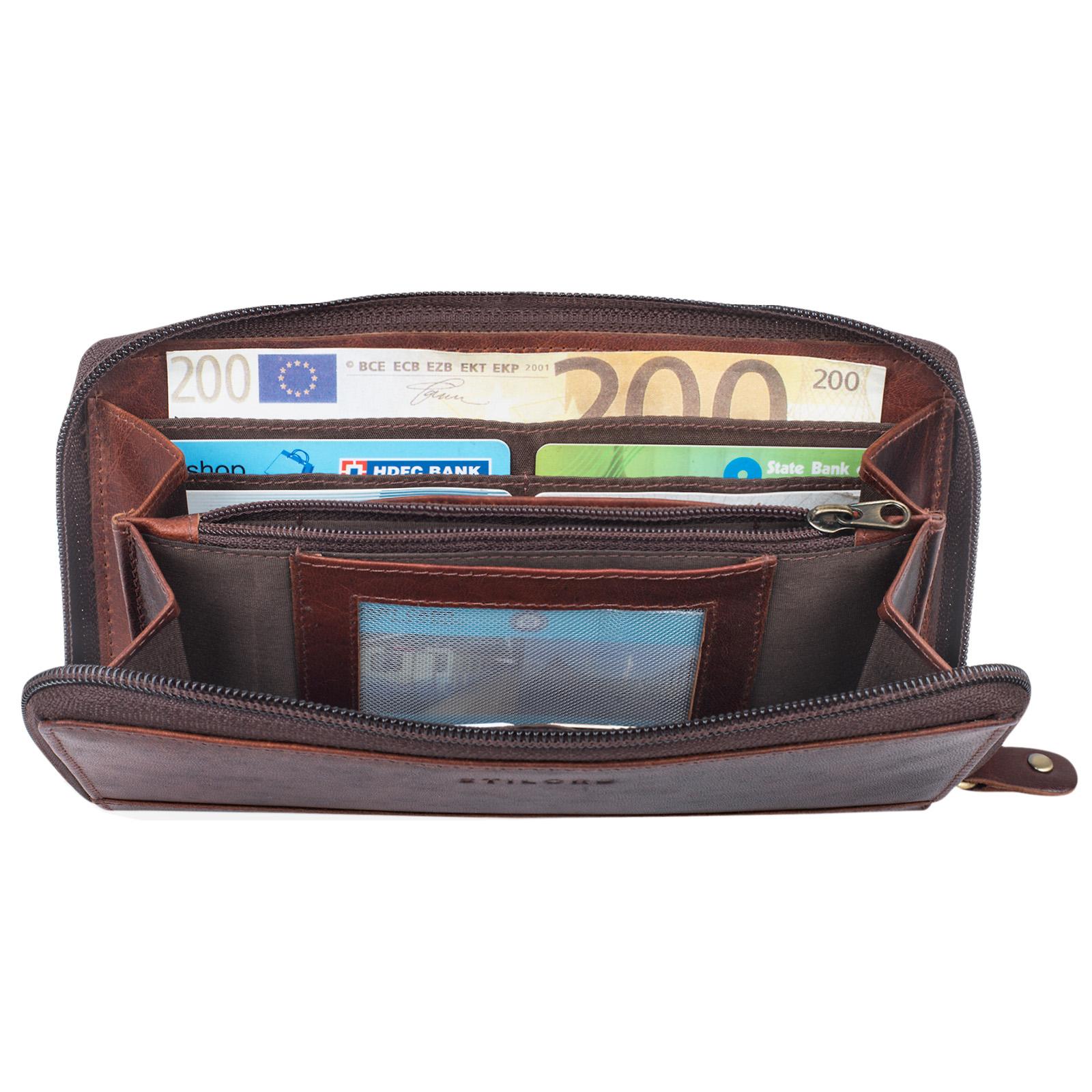 """STILORD """"Saskia"""" Portemonnaie Damen Leder groß viele Fächer Vintage Brieftasche im Querformat Geldbörse mit Reißverschluss für EC-Karten Kleingeld Ausweis - Bild 18"""