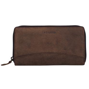 """STILORD """"Saskia"""" Portemonnaie Damen Leder groß viele Fächer Vintage Brieftasche im Querformat Geldbörse mit Reißverschluss für EC-Karten Kleingeld Ausweis – Bild 21"""