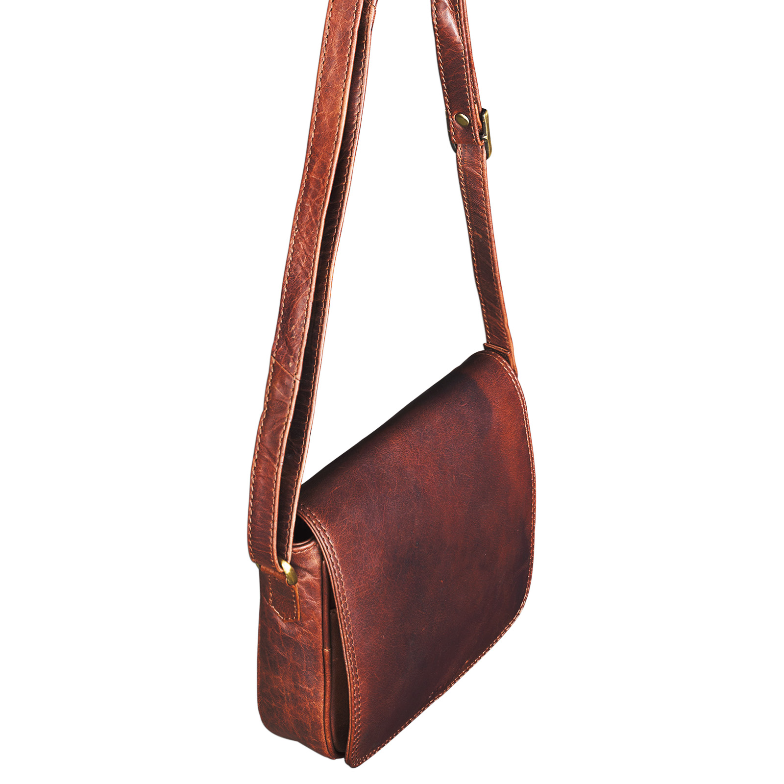 Handtasche Leder cognac braun