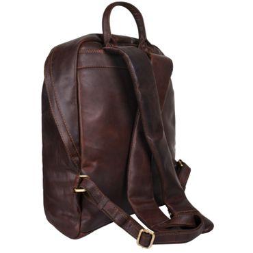 Daypack Rucksack Leder dunkel braun