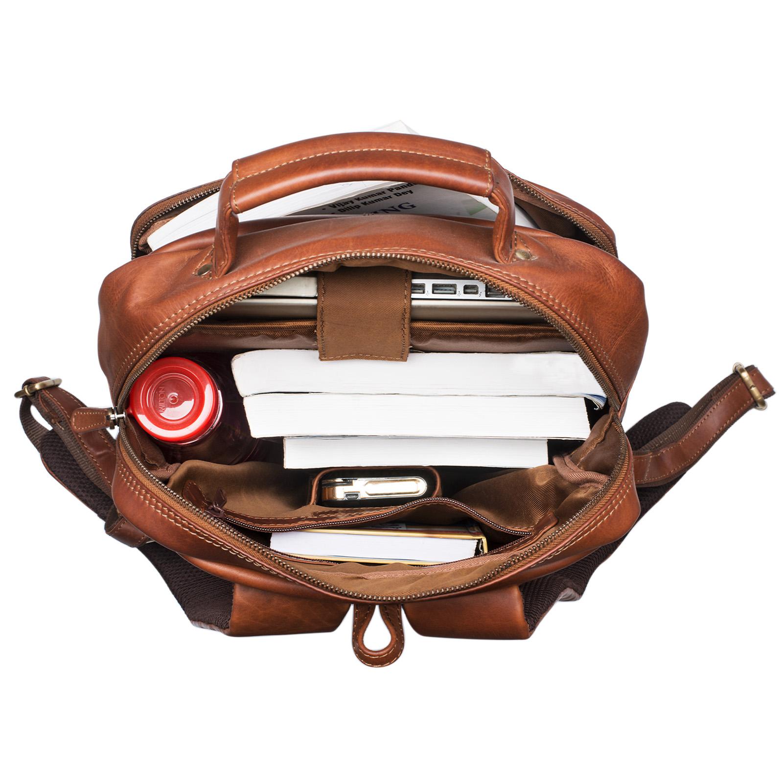 Rucksackhandtasche modern Leder braun