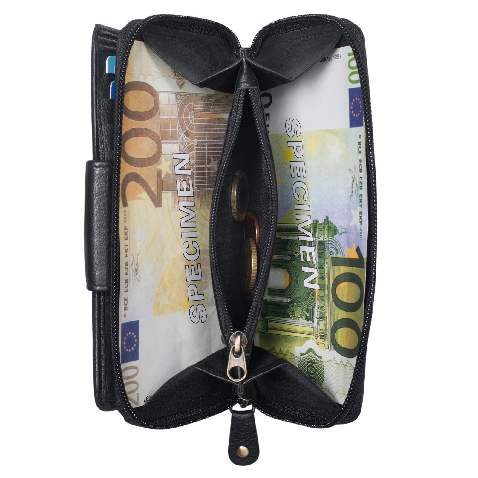 """STILORD """"Lena"""" Leder Portemonnaie Frauen Reißverschluss Vintage Geldbörse Echtleder große Brieftasche im Querformat mit vielen Fächern für Ausweis EC-Karten Bargeld - Bild 12"""