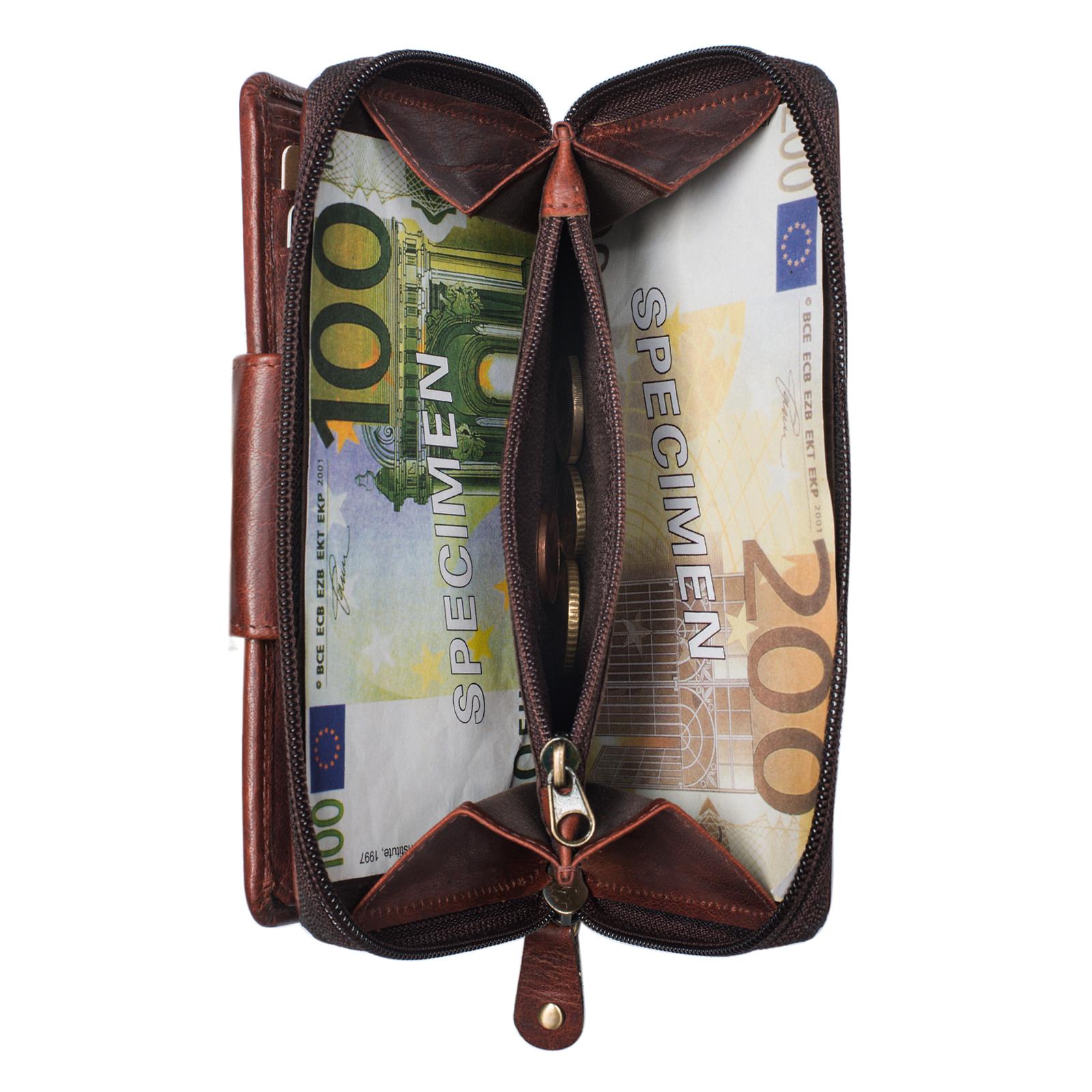 """STILORD """"Lena"""" Leder Portemonnaie Frauen Reißverschluss Vintage Geldbörse Echtleder große Brieftasche im Querformat mit vielen Fächern für Ausweis EC-Karten Bargeld - Bild 21"""