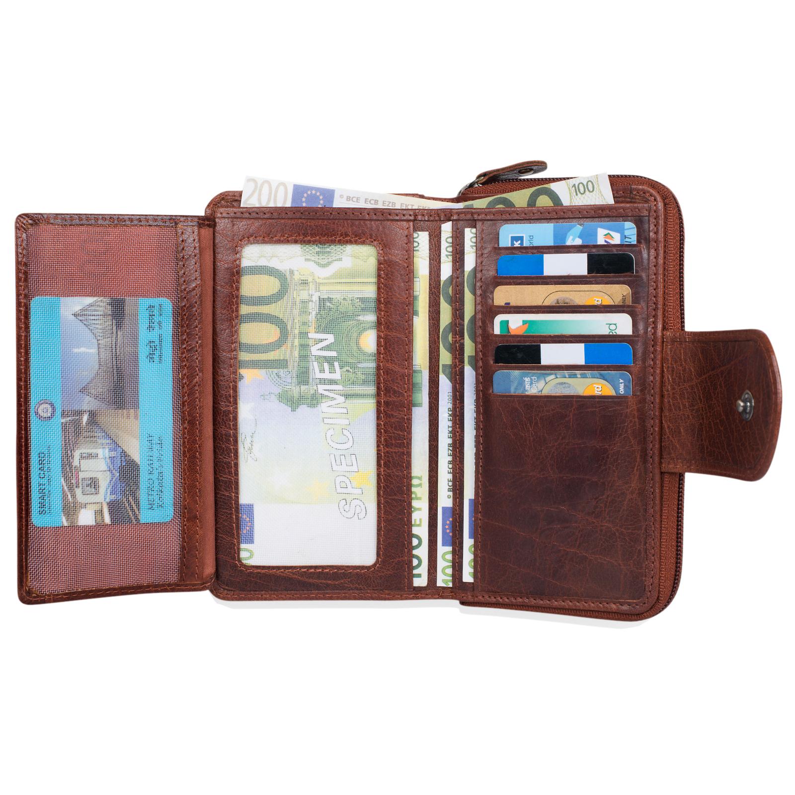 """STILORD """"Lena"""" Leder Portemonnaie Frauen Reißverschluss Vintage Geldbörse Echtleder große Brieftasche im Querformat mit vielen Fächern für Ausweis EC-Karten Bargeld - Bild 7"""