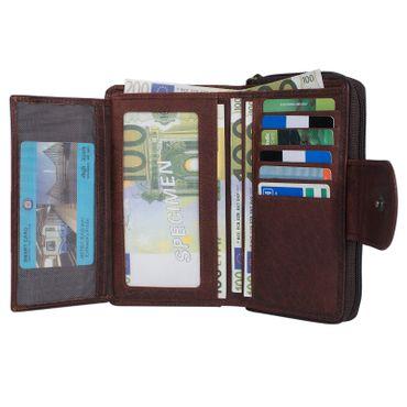 """STILORD """"Lena"""" Leder Portemonnaie Frauen Reißverschluss Vintage Geldbörse Echtleder große Brieftasche im Querformat mit vielen Fächern für Ausweis EC-Karten Bargeld – Bild 24"""